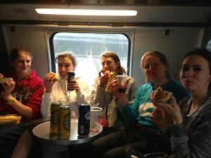 A few of our girls enjoying a well deserved beer on the way home.